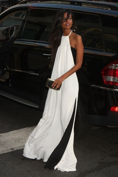 monochromatic: black and white flowy maxi dress.