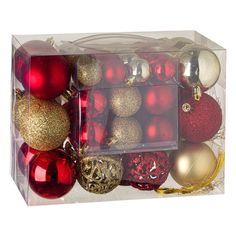 Σετ Χριστουγεννιάτικες Μπάλες Χρυσό Κόκκινο Ματ Γυαλιστερές Διάτρητες Glitter 3-4-6 cm - 50 τμχ.