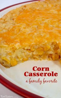 """Our Corn Casserole recipe is a family favorite holiday dinner side dish - this sweet-savory, corn bread """"like"""" dish is super delicious and very easy to make. It will be one of your family's favorite Christmas dishes. For more great Christmas Food ideas follow us at http://www.pinterest.com/2SistersCraft/"""