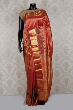 Chic #red and antique #gold pure #kanchipuram #silk zari weaved saree -SR14027