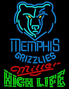 High Life Neon Logo Memphis Grizzlies NBA Neon Sign 2 0011, Miller High Life with NBA Neon Signs | Beer with Sports Signs. Makes a great gift. High impact, eye catching, real glass tube neon sign. In stock. Ships in 5 days or less. Brand New Indoor Neon Sign. Neon Tube thickness is 9MM. All Neon Signs have 1 year warranty and 0% breakage guarantee.