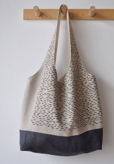 rain market tote by bookhouathome on Etsy Sashiko Embroidery, Japanese Embroidery, My Bags, Purses And Bags, Sac Lunch, Diy Accessoires, Japan Design, Linen Bag, Fabric Bags