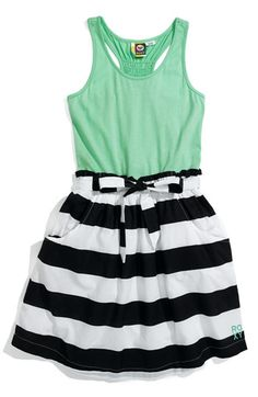Love this #summer #outfit! The #black and white stripes with the #turquoise makes this #dress pop! #ootd #fashion