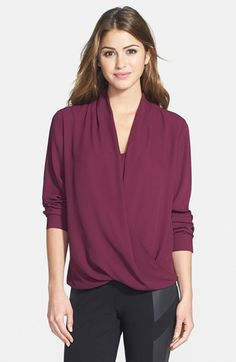 Vince Camuto Wrap Front Shirttail Blouse available at #Nordstrom