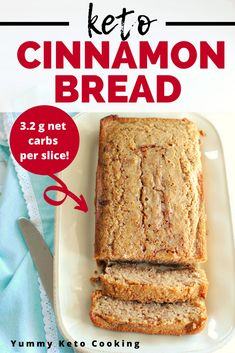 This keto cinnamon bread is the perfect sweet treat for a low carb snack or a side to your keto breakfast! With just grams of net carbs per slice its a great recipe on your low carb diet. Baking With Almond Flour, Almond Bread, Baking Flour, Coconut Flour, Cinnamon Bread, Cinnamon Recipes, Low Carb Recipes, Snack Recipes, Snacks
