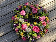 Funeral Flowers. vibrant funeral wreath, www.thefloralartstudio.co.uk