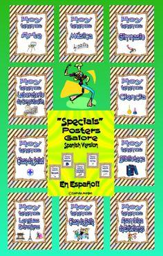 """These are Specials Posters - in Spanish - that cover most Specials in both regular public schools and charter/private schools. Great for any Spanish Immersion Program. Each poster has the following text: """"Hoy tenemos:"""" followed by one of the Specials listed below: •Gimnasio •Biblioteca •Laboratorio de Computación •Ciencia •Arte •Clase de Salud •Música •Clase de Baile •Clase de Jardinería •Teatro/Drama •Lenguas Extranjeras •Clase de Cocina • Asamblea de Estudiantes •Blank poster"""