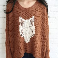 Price:$28.99 Material: Wool Color: As Picture Leisure Chic Lace Spliced Tiger Head Open Knit Sweater