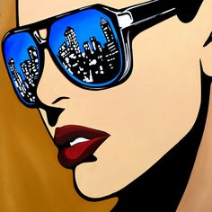 Abstract Pop Art painting colorful city blue huge woman