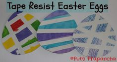 Tape Resist Easter Eggs  A simple activity for Easter that is easy to do and looks lovely too.