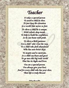 Teacher poem is about a special