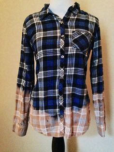 Bleach dip dyed flannels for men and women. This shirt is pre-made and ready to ship. These tops are great to wear fitted or a few sizes larger with leggings. ----------------------------  Measurements:  Small  100% cotton  ------------------------------   Shipping: Your order will be