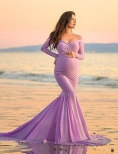 e1e9877540862 Madeline Fitted Long Sleeves Gown, Mermaid Style. Lilac Baby ShowerLavender  ...