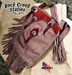 SHIPS FREE, Chap Purse, Western Fringed Leather Bag, Handmade, Conchos, spots, phone pouch