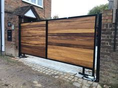 Underground automation fitted to our Warwickshire driveway gate. Adapted brackets for sloping drive. Small Garden Arbour, Pergola Garden, Backyard, Driveway Landscaping, Driveway Gate, Fence, Tor Design, Gate Design, Side Gates