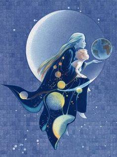sage is a cancer moon child Sun Moon Stars, Sun And Stars, Fantasy Kunst, Fantasy Art, Illustrations, Illustration Art, Moon Pictures, Moon Magic, Beautiful Moon