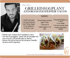 Grilled Eggplant and Roasted Pepper Tacos #Mexican