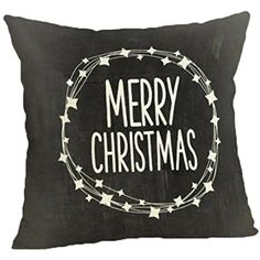 """Pillow Covers,HP95(TM) HappyChristmas Linen Throw Pillow Case Sofa Cushion Cover 18x18"""" (C) * Visit the image link more details. (This is an affiliate link) #PillowCovers"""