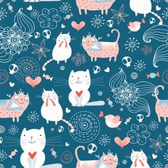 Funny Cat pattern vector 01