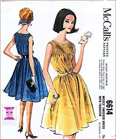 McCall's 6614 Misses' Smocked Sleeveless Dress with Transfer Vintage Sewing Pattern McCall's Tunic Sewing Patterns, Smocking Patterns, Vintage Sewing Patterns, Sewing Dresses For Women, Smocked Clothing, Women's Chemises, City Shorts