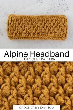 This alpine free crochet headband pattern is so cute! Such a simple ear warmer and super easy to make! headband Alpine Crochet Headband - Crochet 365 Knit Too Crochet Ear Warmer Pattern, Knit Headband Pattern, Free Crochet Headband Patterns, Crochet Ear Warmers, Simple Crochet Patterns, Easy Crochet Headbands, Crochet Gifts, Crochet Winter, Crochet Accessories