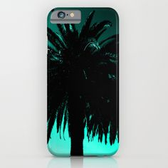 Palm Trees Silhouette - Teal Sunset iPhone & iPod Case