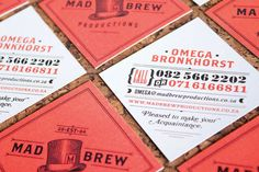 Interesting business cards and identity created by Adam Hill for Mad Brew Productions.