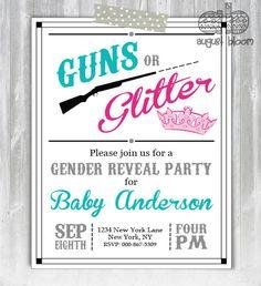 Guns or Glitter Gender Reveal Invitation  by AugustBloomDesigns, $13.95