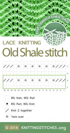 KnittingStitches.Org — Old Shale Stitch Chart. Techniques used: Knit and Purl, Yarn over, K2tog #knitting #knittingpattern