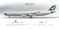 Airbus A340-300 Cathay Pacific B-HXF | Airliner Profile Art Prints | www.aviaposter.com | #airliners #aviation #jetliner #airplane #pilot #aviationlovers #avgeek #jet #sideplane #airport