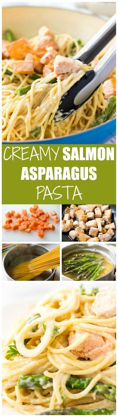 Looking for the clean eating recipes for dinner? Try my Creamy Salmon Asparagus Pasta. It's packed with comforting flavor! Easy to make, so delicious and good for you! Salmon Recipes, Fish Recipes, Seafood Recipes, Vegetarian Recipes, Dinner Recipes, Healthy Recipes, Pasta Recipes, Salmon Meals, Healthy Food
