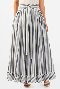 Our stripe cotton maxi skirt with lattice trim at the banded hem is cinched in with a removable self sash tie belt. Modest Outfits, Skirt Outfits, Modest Fashion, Hijab Fashion, Dress Skirt, Fashion Dresses, Cotton Maxi Skirts, Striped Maxi Skirts, Dress To Impress
