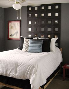Ikea mirrors headboard...could also be done simply by painting the wall behind the bed black, and attaching square mirror tiles (from Michaels Craft Store) to the wall with industrial strength double-stick velcro!  Bet i would be a lot cheaper than what Ikea charges.