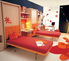 Two single foldable orange beds for kids room  opened