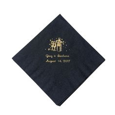 Champagne Black Personalized Luncheon Napkins with Gold Print