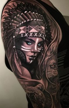 Indian girl with headdress and make-up by Dale Walsh - tattoos - . - Indian girl with headdress and make-up by Dale Walsh – tattoos – - Cherokee Indian Tattoos, Indian Women Tattoo, Native Indian Tattoos, Indian Girl Tattoos, Native American Tattoos, Indian Tattoo Design, New Tattoo Designs, Tattoo Sleeve Designs, Sleeve Tattoos