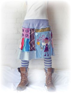 Quirky Fairy Skirt Recycled Stretch Flared Denim by TheTopianDen