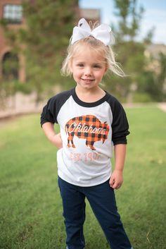 KIDS Oklahoma bison plaid baseball t-shirt