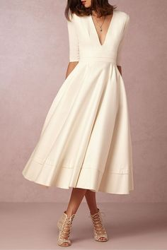 delphine manivet half sleeve fit and flare tea length wedding dress