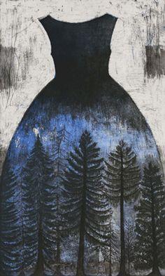 "Kirsi Neuvonen ~ ""Spruce Forest"" Etching, aquatint, drypoint, copy 100 x 60 cm *Kuusimetsä*  via GRAFOTEEKKI"