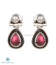 The Abha Silver Earrings(Red)
