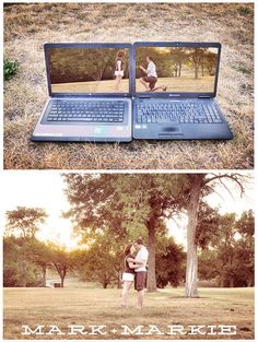 Engagement picture representing a long distance relationship!