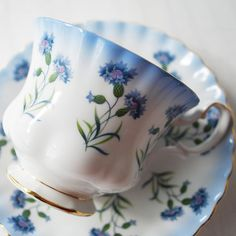 Royal Albert Teacup and Saucer, Blue Flowers