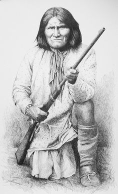 Geronimo  Commissioned pencil drawing from historic photograph, by artist, Joe Belt.