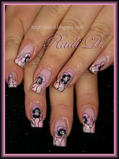 Baby Pink French & One Stroke flowers