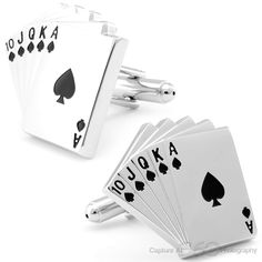 Royal Flush Poker Card Cufflinks, Fine Men's Jewelry | Cufflinksman