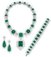 BVLGARI Emerald and Diamond Suite Collected over the course of many repeat trips to the Bulgari boutique on the Via Condotti in Rome (1962 – 1967), the jewels that make up this suite were keepsakes from the filming of Cleopatra.  Necklace estimate: $1million – $1.5 million Pendant estimate: $500,000 – $700,000 Ring estimate: $600,000 - $800,000 Bracelet estimate: $300,000 – $500,000 Earrings estimate: $150,000- $200,000