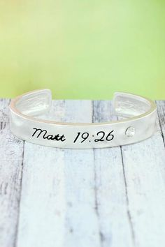 """Share your favorite verse with this simple, yet stylish cuff. Worn Silvertone Crystal Accent """"Matt Inscribed on Bracelet Inside Circumference Including Gap Wide No Closure Lead Compliant Religious Jewelry, Cuff Bracelets, Fashion Jewelry, Crystals, Stylish, Silver, Simple, Products, Crystal"""