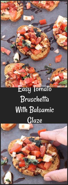 Tomato Bruschetta with Balsamic Glaze is very flavorful, easy to put together and perfect for a party. You can make this in a large batch ahead of time, as well as toasting Baguette slices.   This recipe is all about getting the perfect blend of Tomatoes, Onion, Basil leaves and Mozzarella cheese together and immersing them in the olive oil to bring out their lovely flavors. #partyrecipes #appetizer #kidsfriendly #10minuterecipe #QuickRecipe #vegetarian