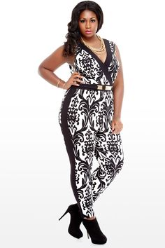 Scroll Print Belted Jumpsuit...Damnnn, thisis tha BOMB-DIGGITY!! I Must-Have this!! Purchase online @ FASHION TO FIGURE!!